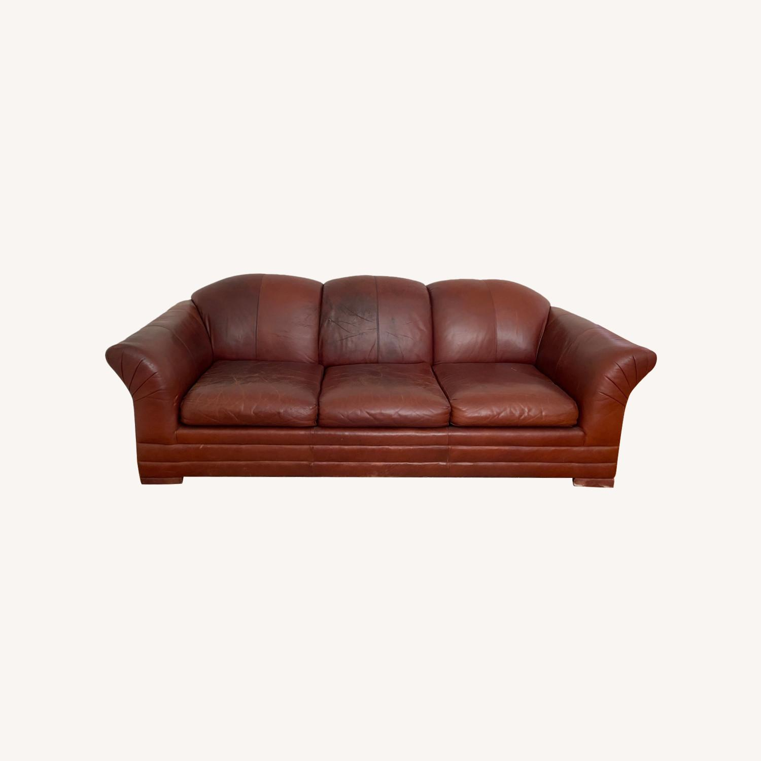 Leather 3 Seat Sleeper Sofa - image-0