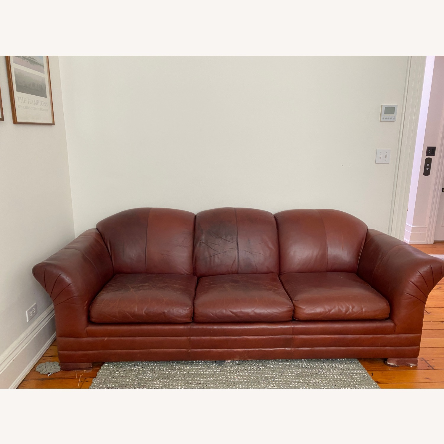 Leather 3 Seat Sleeper Sofa - image-2