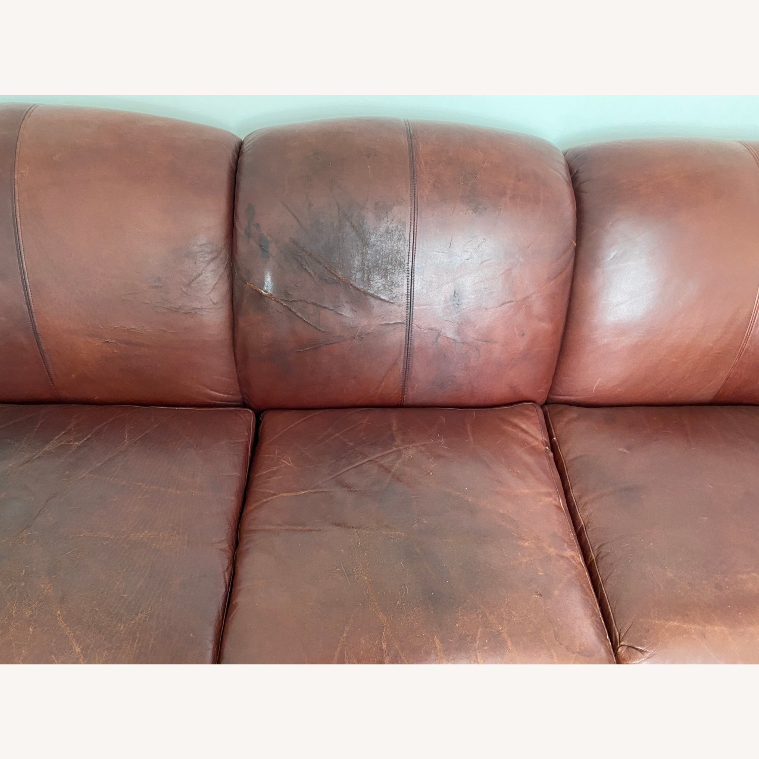 Leather 3 Seat Sleeper Sofa - image-3