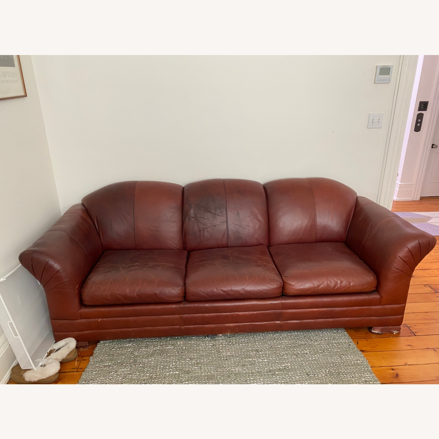 Leather 3 Seat Sleeper Sofa - image-1