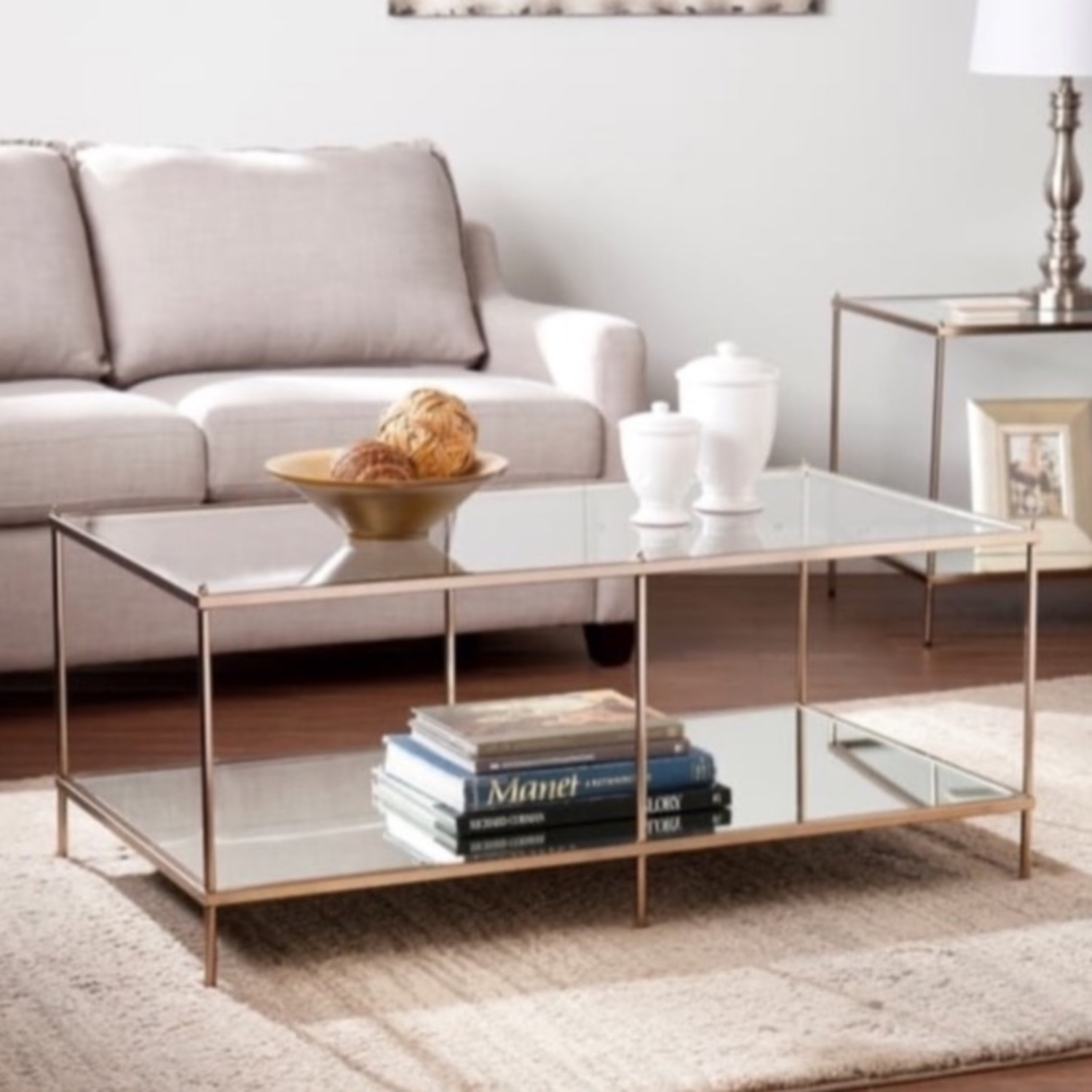Goldtone Glass Top Coffee Table - image-0