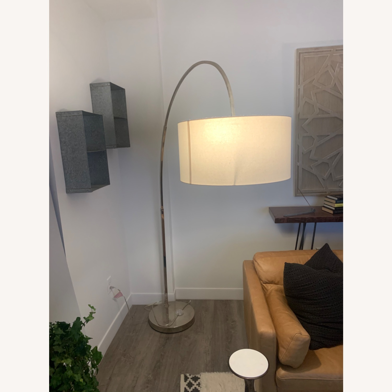 West Elm Silver Overarching Lamp - image-1