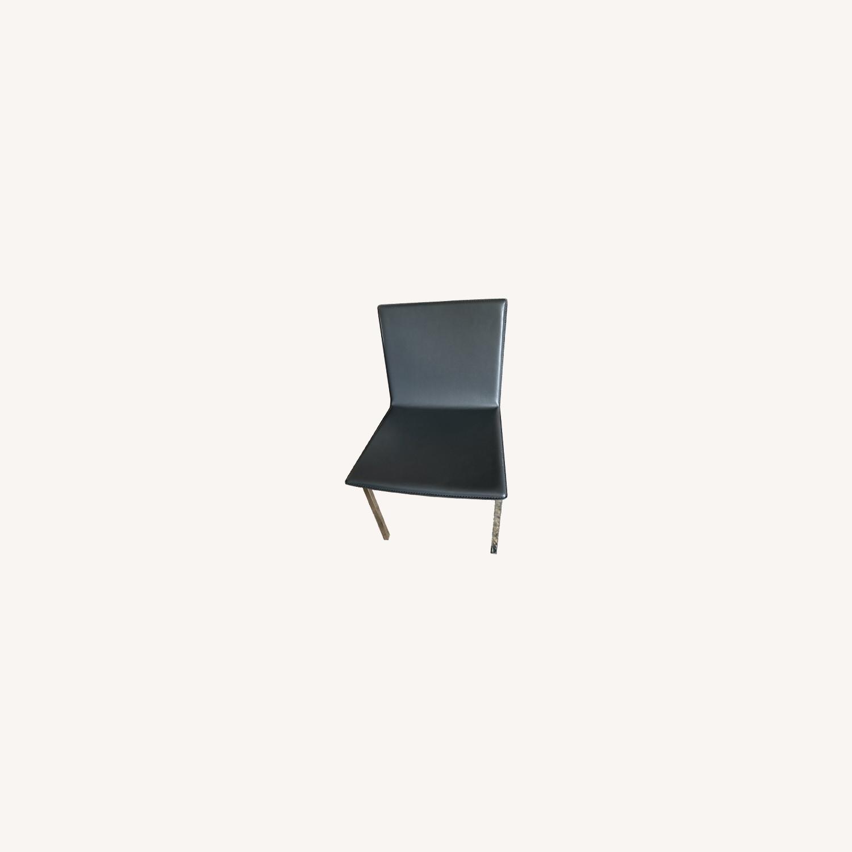 CB2 Modern Black Chair Set, silver legs - image-0