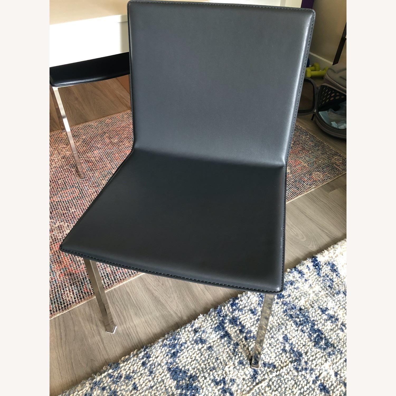 CB2 Modern Black Chair Set, silver legs - image-2