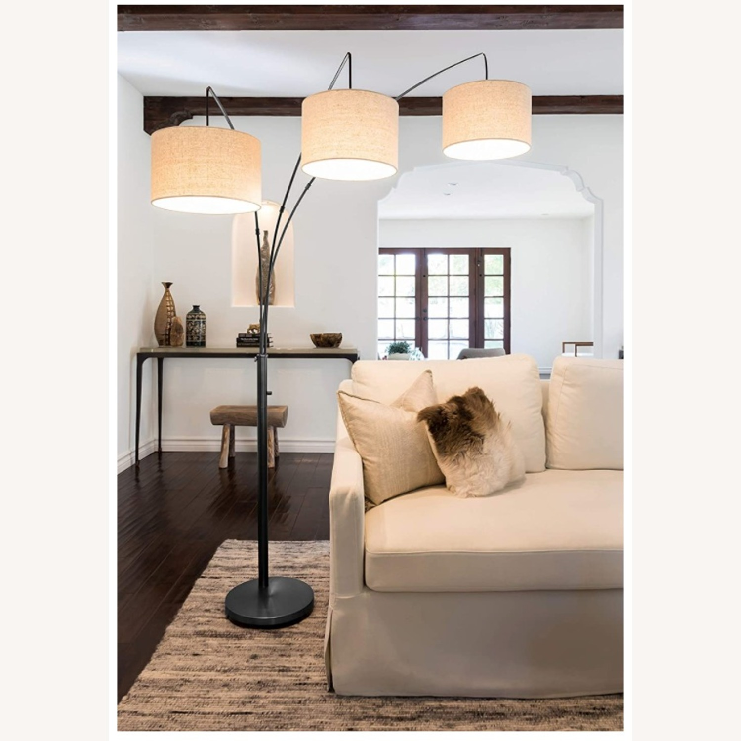 Brightech Trilage Arc Floor Lamp w/Marble Base - image-1