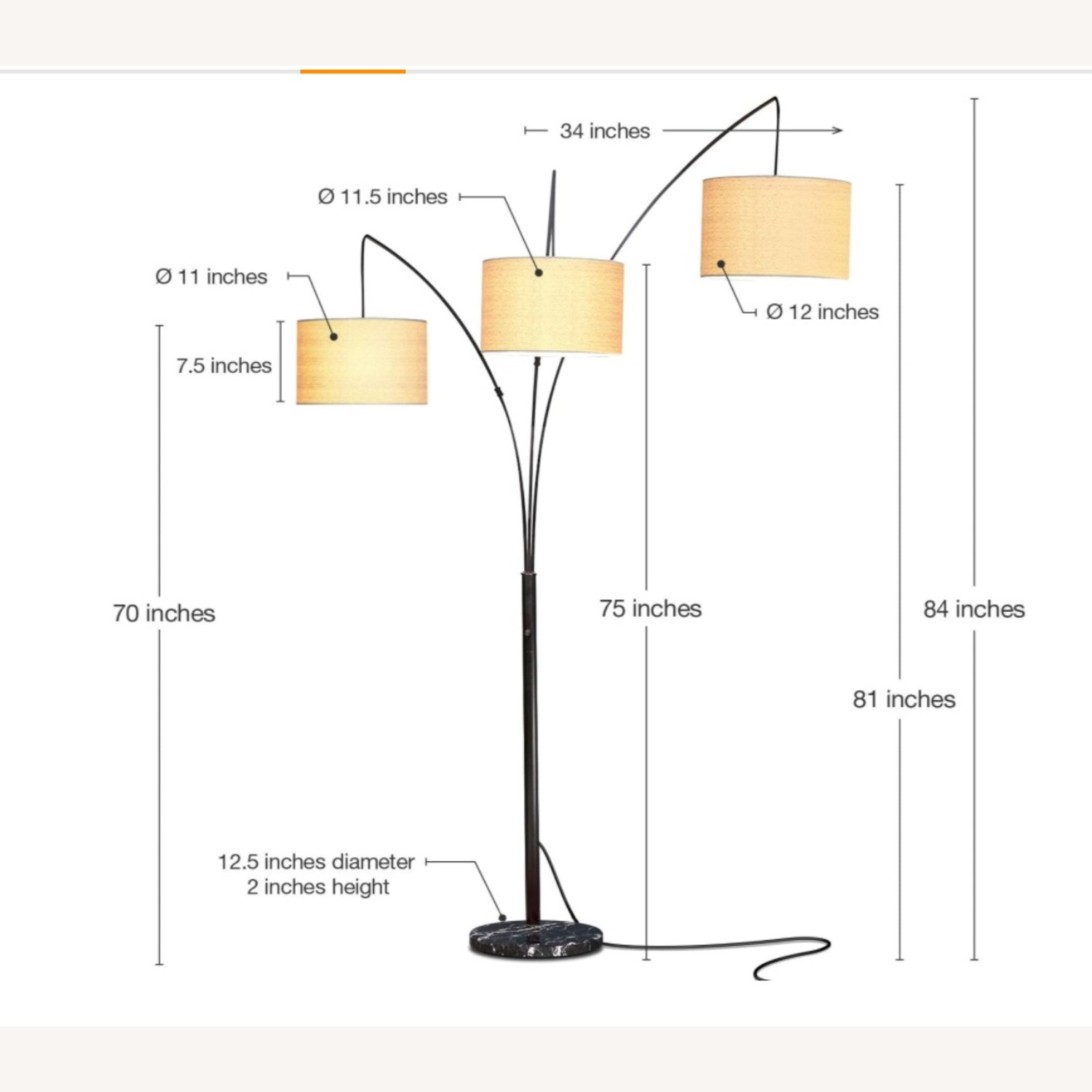 Brightech Trilage Arc Floor Lamp w/Marble Base - image-2