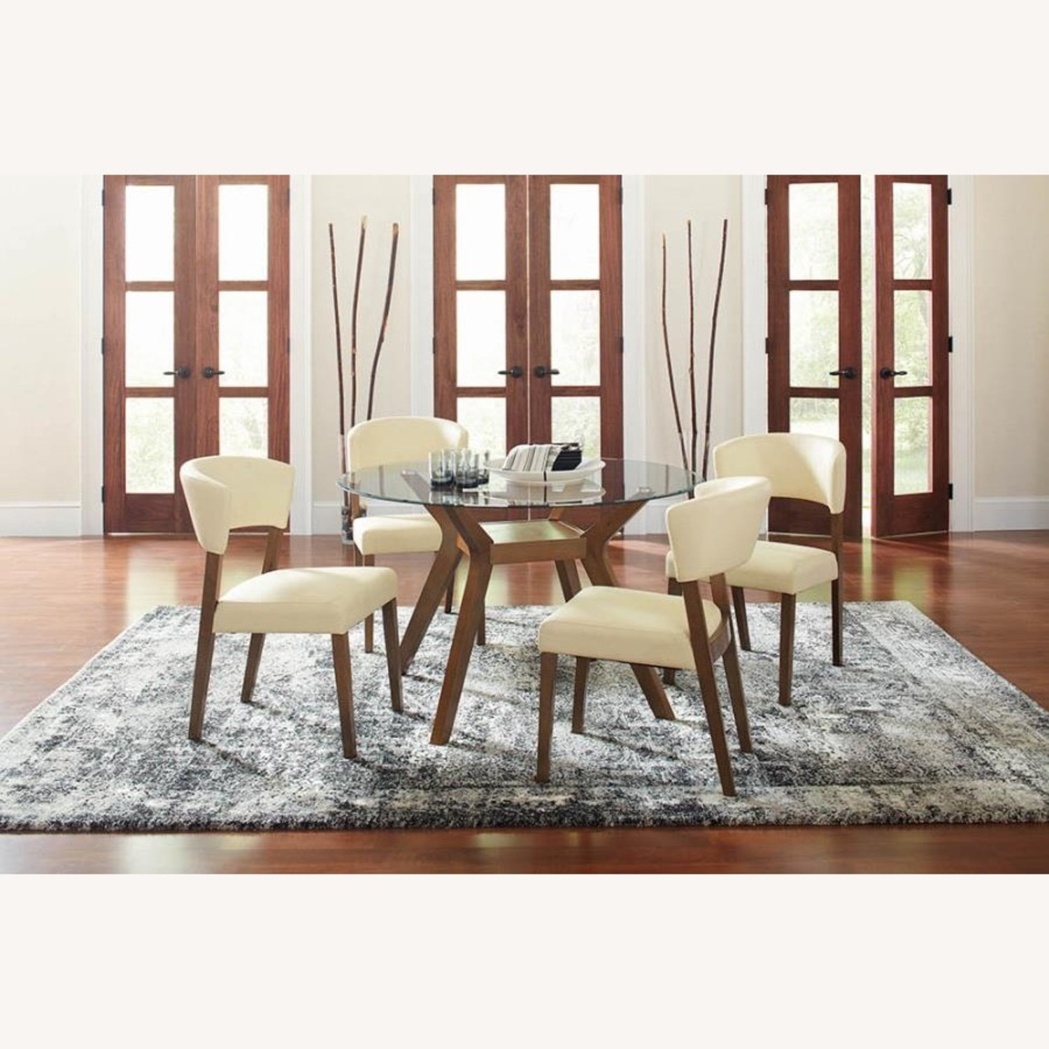 Retro Side Chair In Nutmeg & Cream Leatherette - image-7