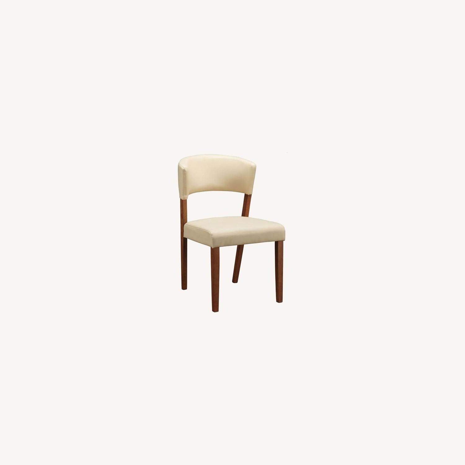 Retro Side Chair In Nutmeg & Cream Leatherette - image-0