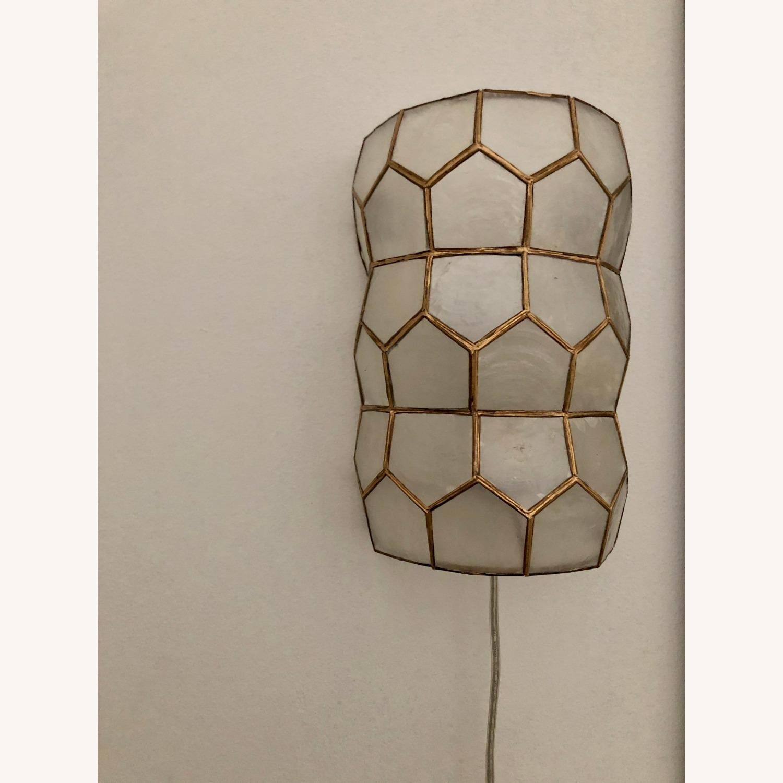 Bronze and White Geometric Sconces - image-3