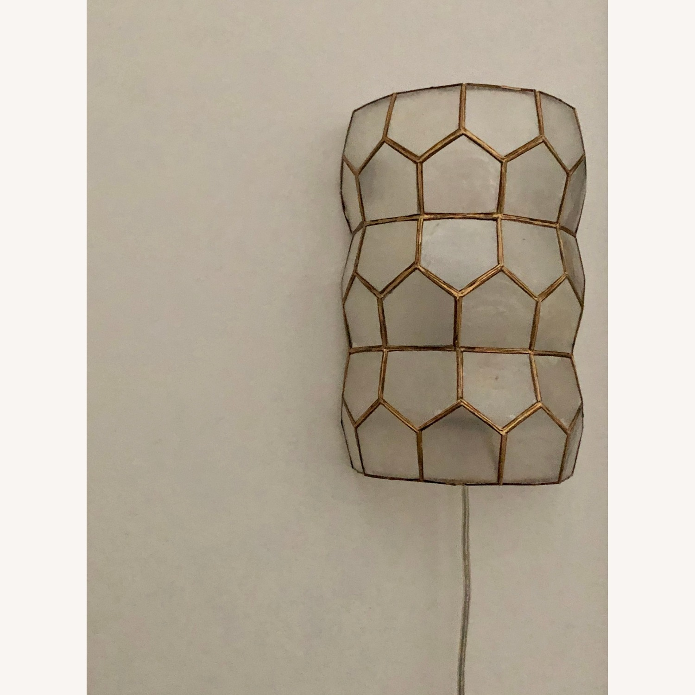Bronze and White Geometric Sconces - image-1