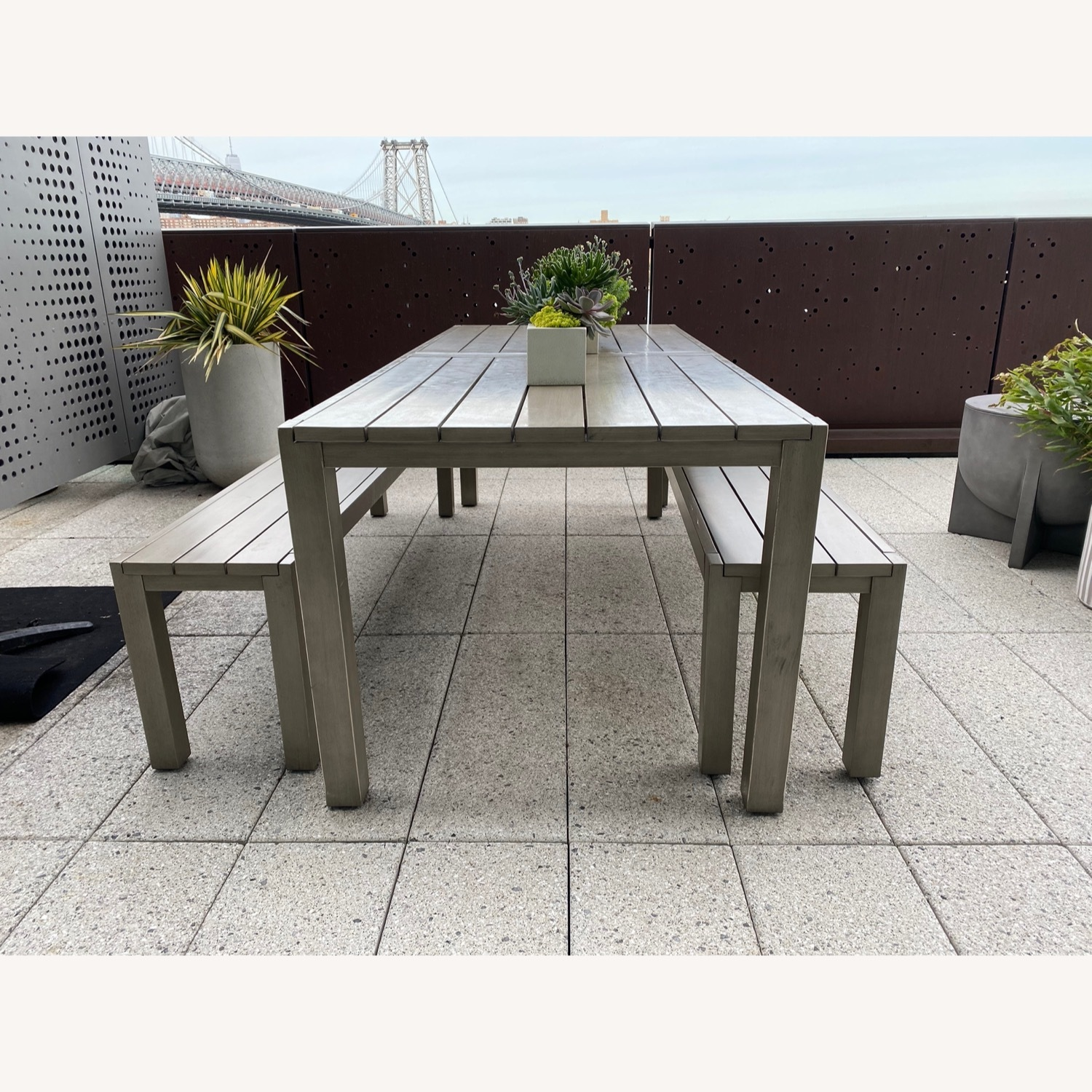 CB2 Matera Outdoor Dining Table w/ benches - image-3