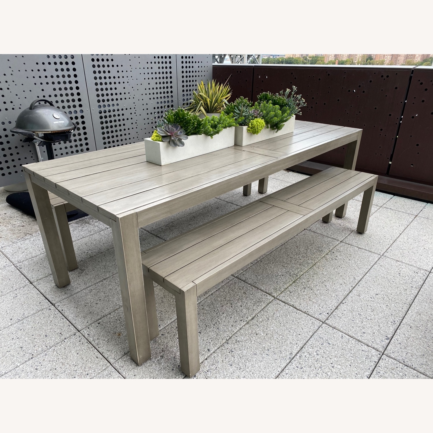 CB2 Matera Outdoor Dining Table w/ benches - image-0