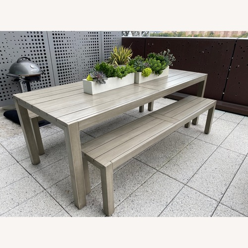 Used CB2 Matera Outdoor Dining Table w/ benches for sale on AptDeco