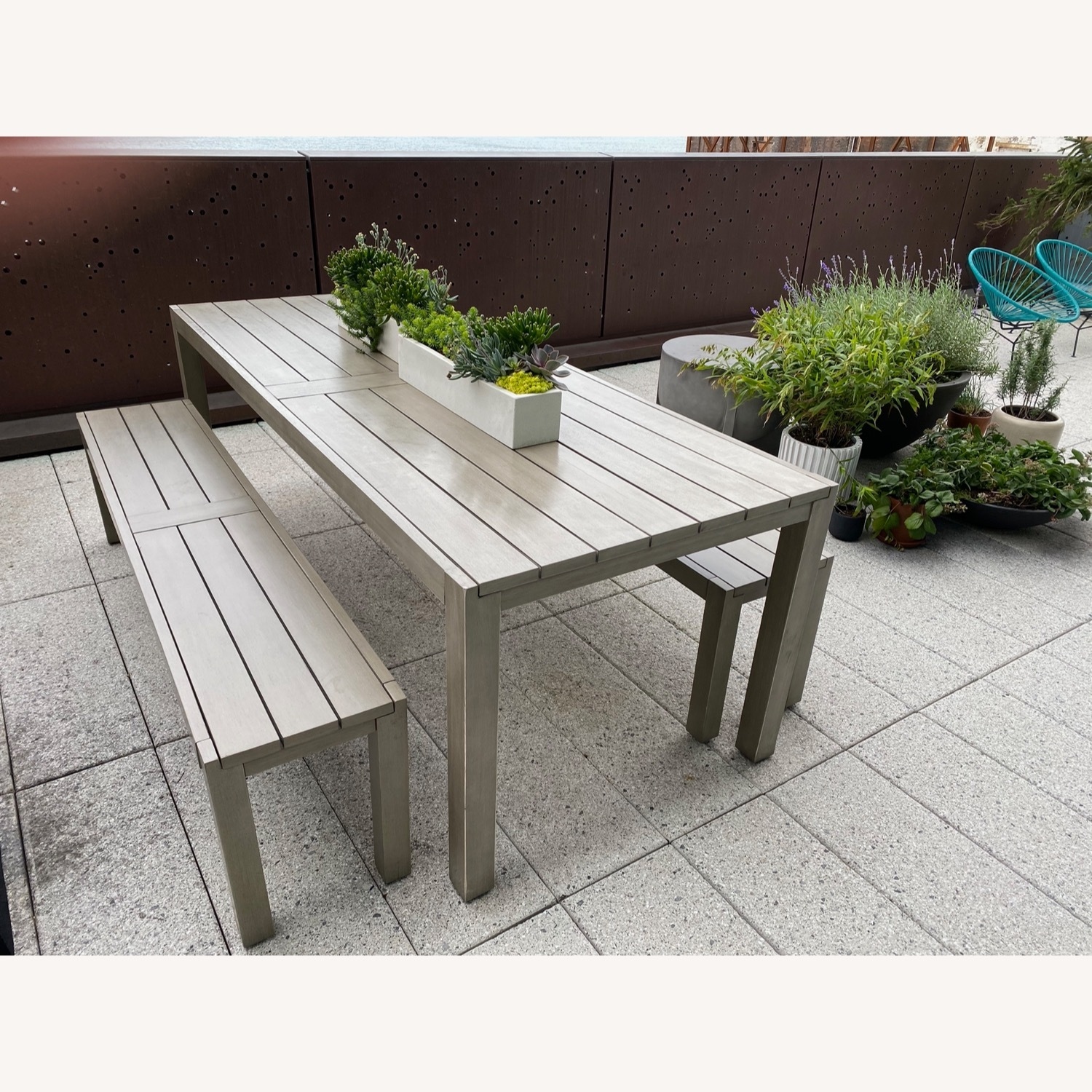 CB2 Matera Outdoor Dining Table w/ benches - image-1