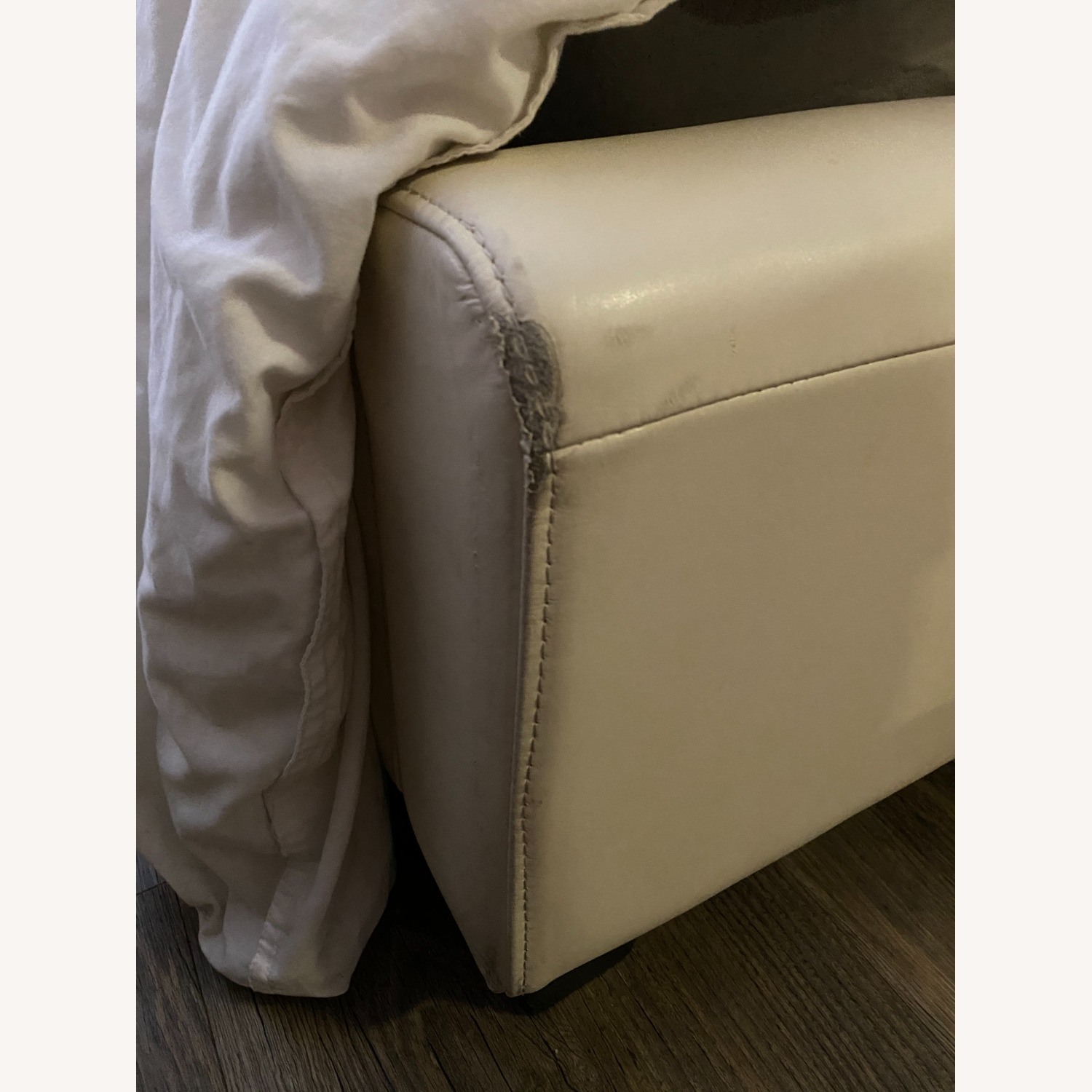 Macy's White Leather Queen Storage Bed - image-5