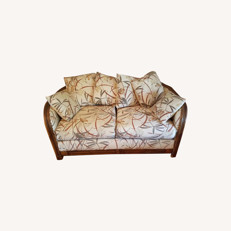 Vintage Boho Rattan Loveseat Settee Sofa - image-0