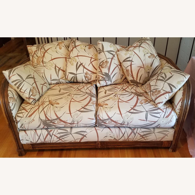 Vintage Boho Rattan Loveseat Settee Sofa - image-1