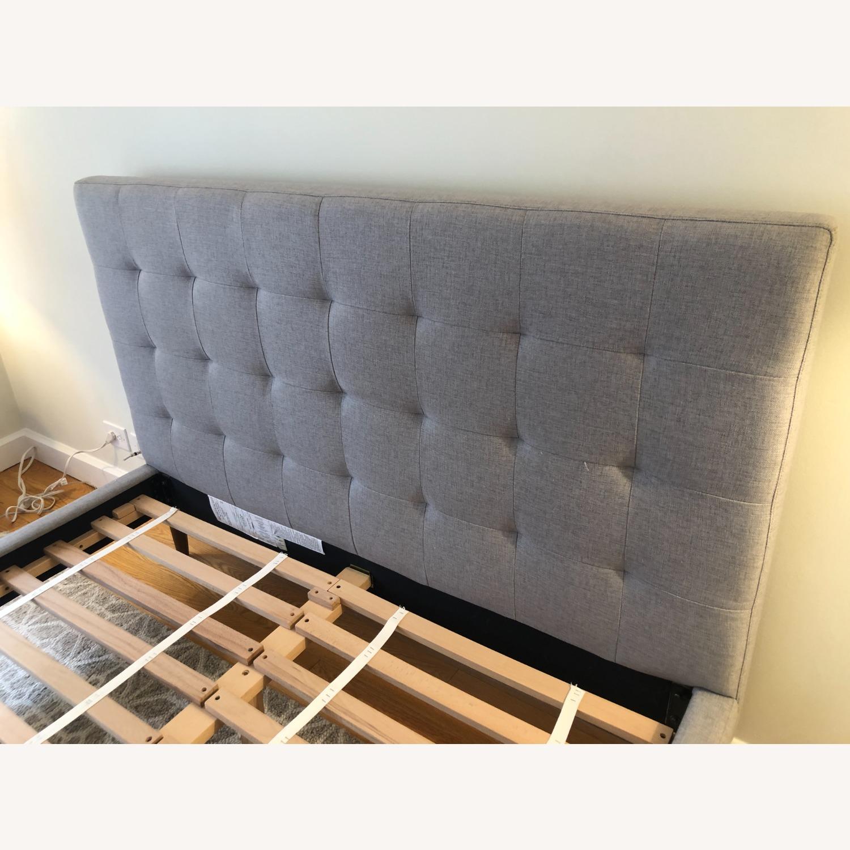 West Elm Gray Upholstered Queen Bed - image-5