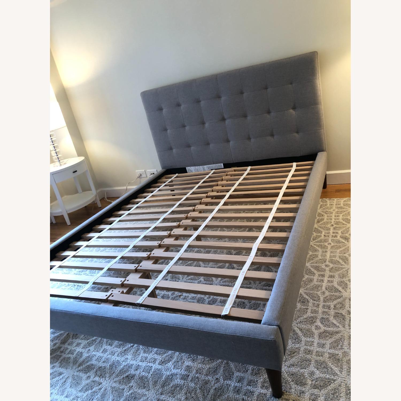 West Elm Gray Upholstered Queen Bed - image-4