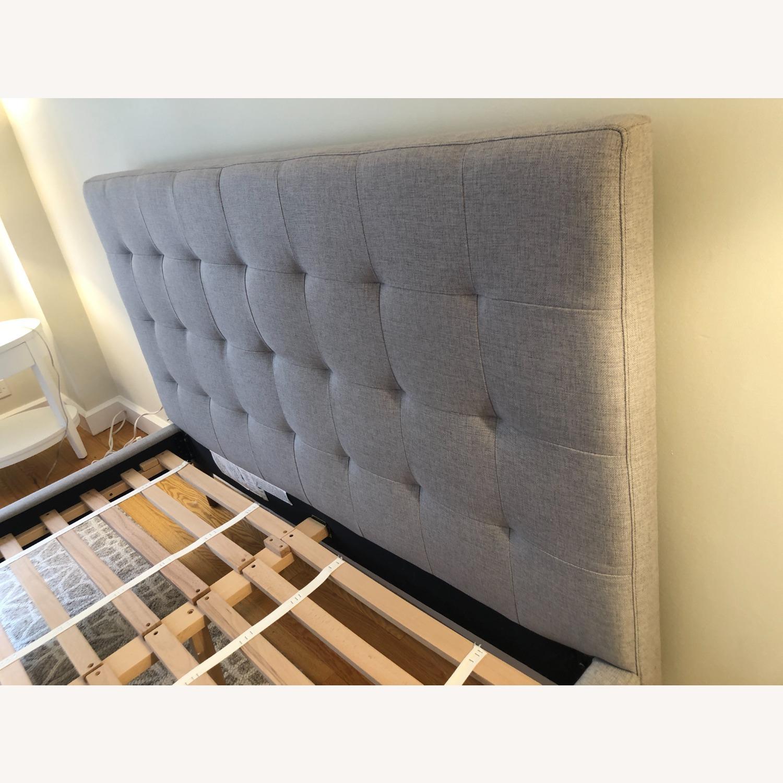 West Elm Gray Upholstered Queen Bed - image-6