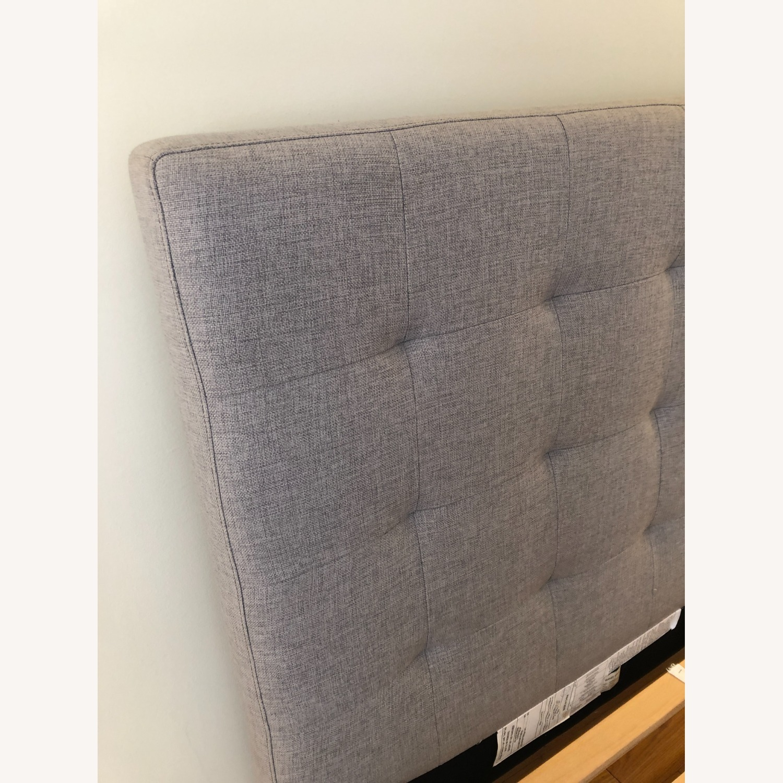 West Elm Gray Upholstered Queen Bed - image-9