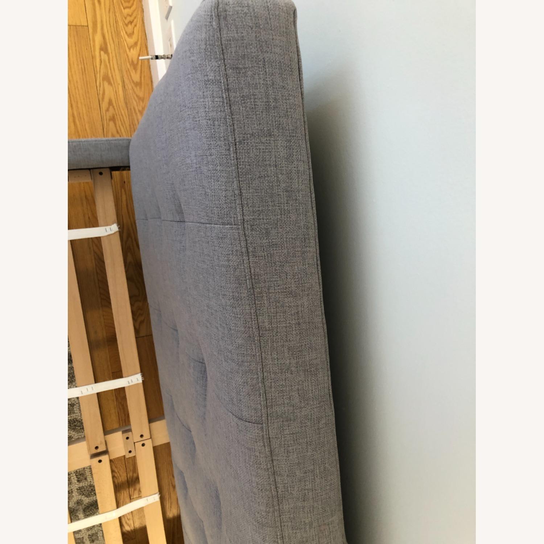 West Elm Gray Upholstered Queen Bed - image-11