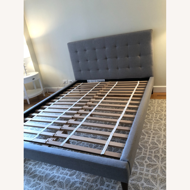 West Elm Gray Upholstered Queen Bed - image-3
