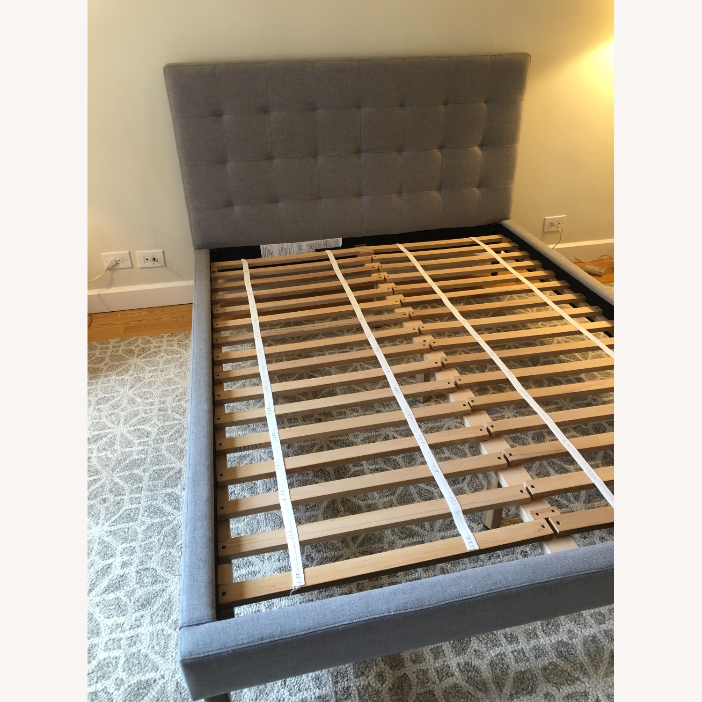 West Elm Gray Upholstered Queen Bed - image-2