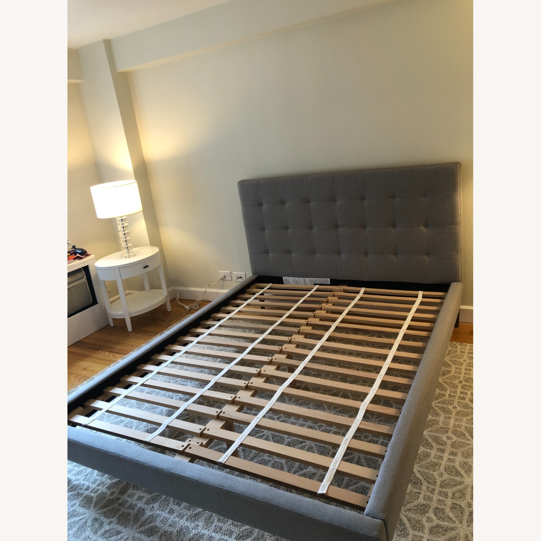 West Elm Gray Upholstered Queen Bed - image-1