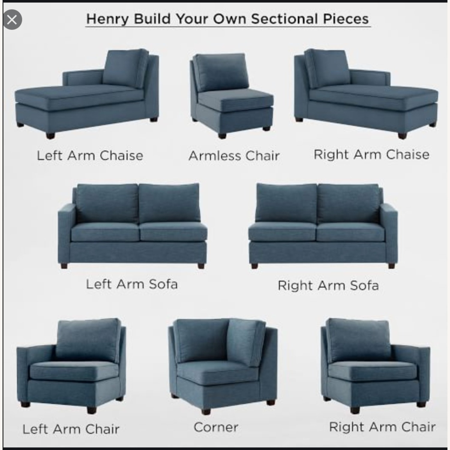 West Elm Henry Nightshade 2-seat Sectional - image-3