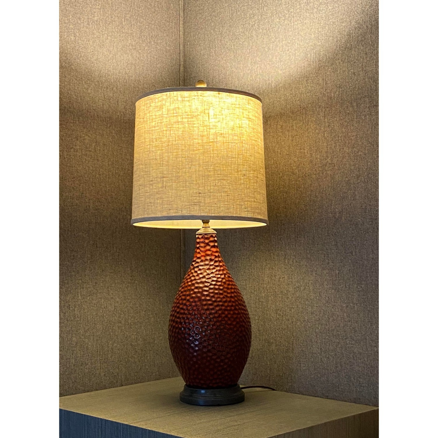 Vintage French Textured Red Ceramic Glazed Lamp - image-2