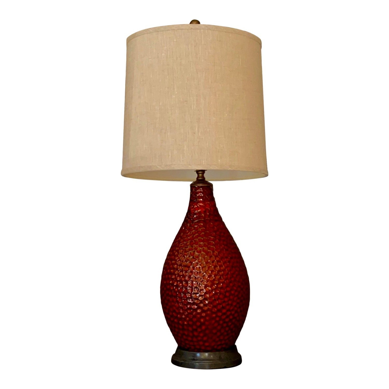 Vintage French Textured Red Ceramic Glazed Lamp - image-4