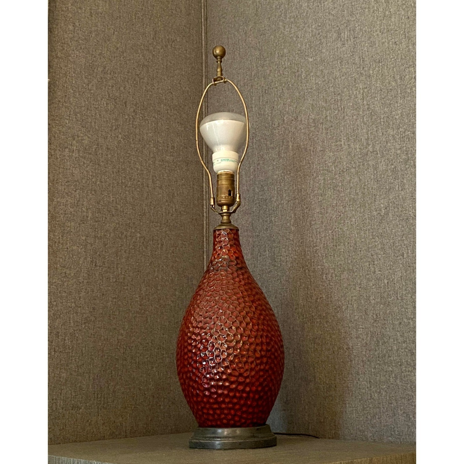 Vintage French Textured Red Ceramic Glazed Lamp - image-5