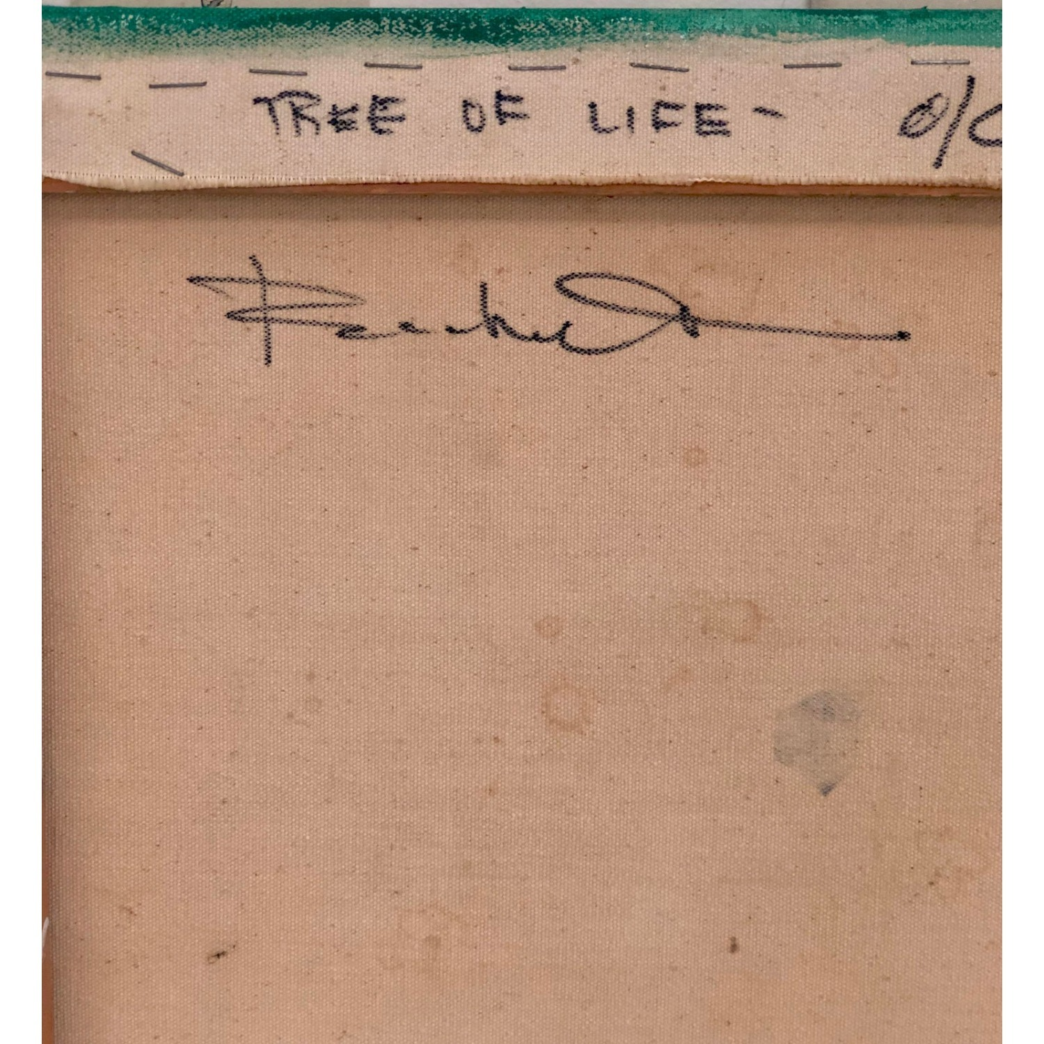 Vintage 1960s Tree of Life Abstract Painting - image-2