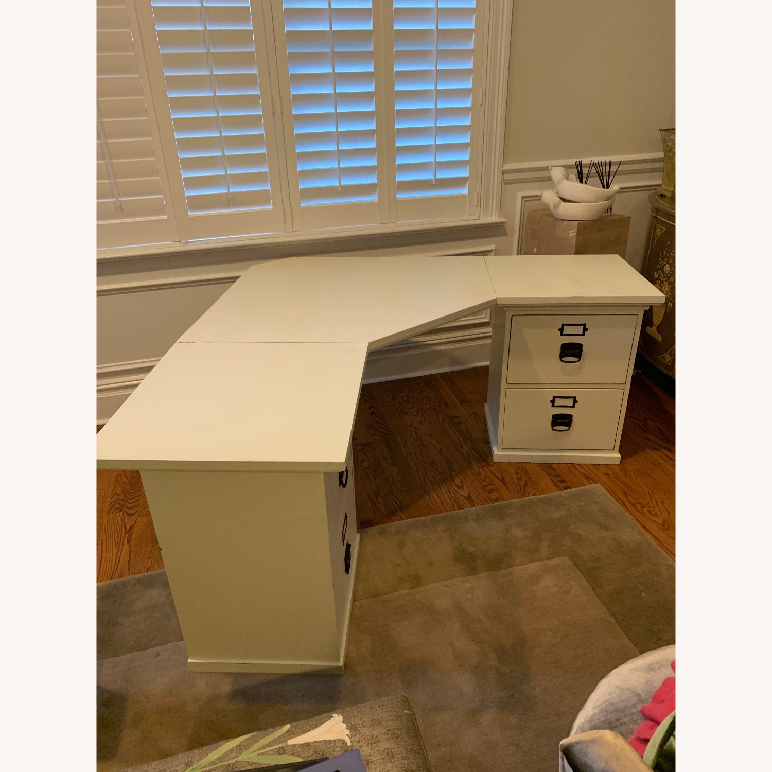 Pottery Barn Home Office Desk with 2 Drawer Cabinets - image-2
