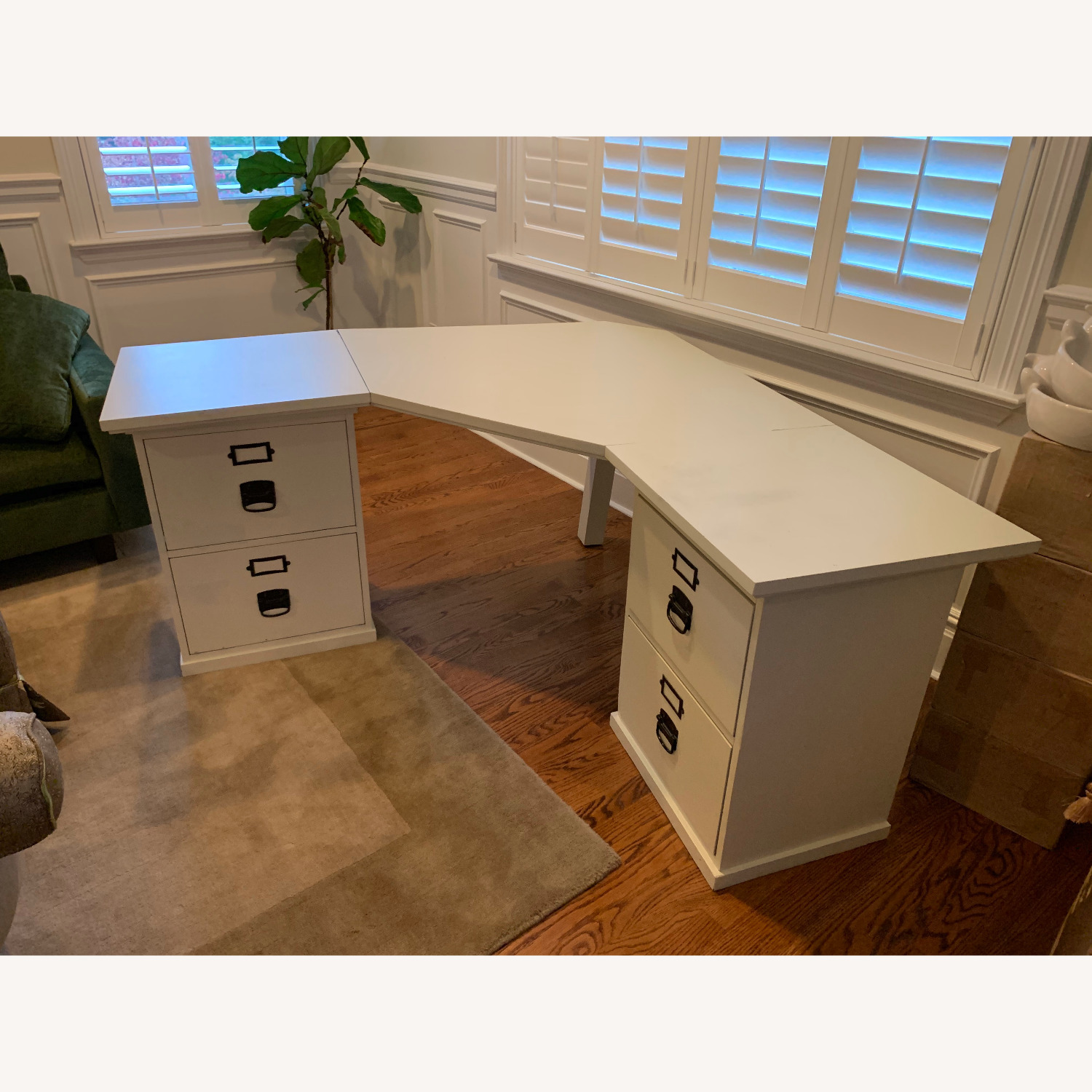 Pottery Barn Home Office Desk with 2 Drawer Cabinets - image-1