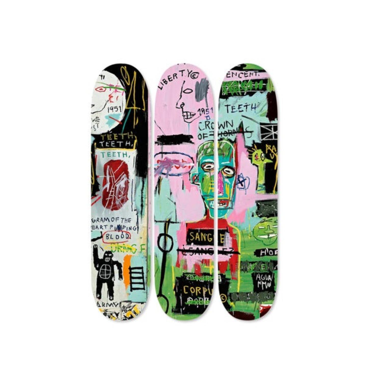 Basquiat Skateboard Triptych In Italian - image-5