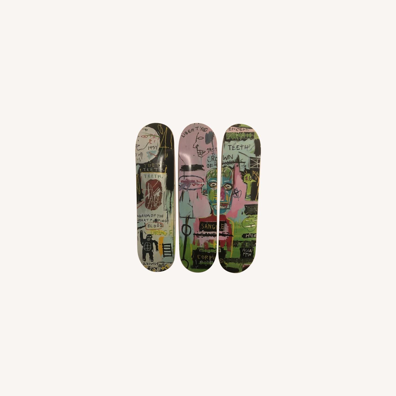 Basquiat Skateboard Triptych In Italian - image-0