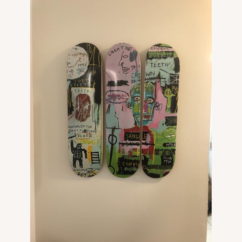Basquiat Skateboard Triptych In Italian - image-1