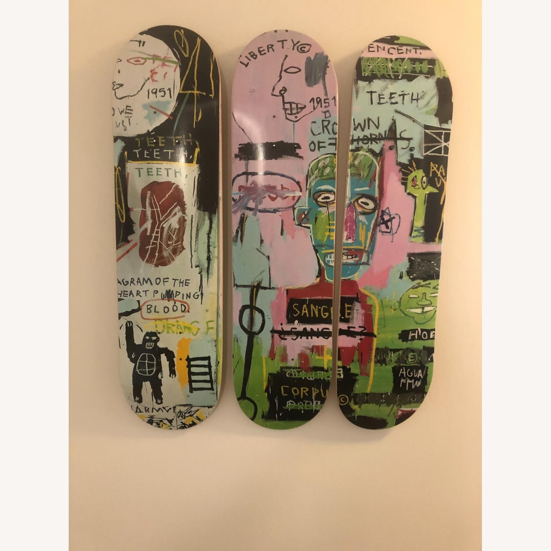 Basquiat Skateboard Triptych In Italian - image-2