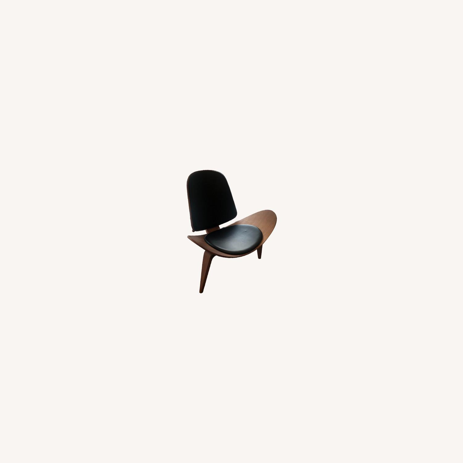Sit Down New York Mitre Walnut and Black Leather Chair - image-0