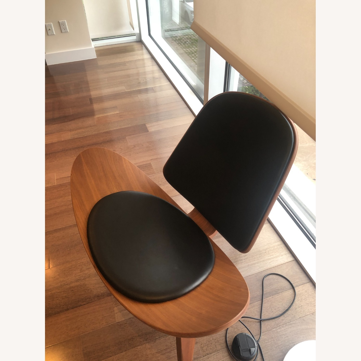 Sit Down New York Mitre Walnut and Black Leather Chair - image-3
