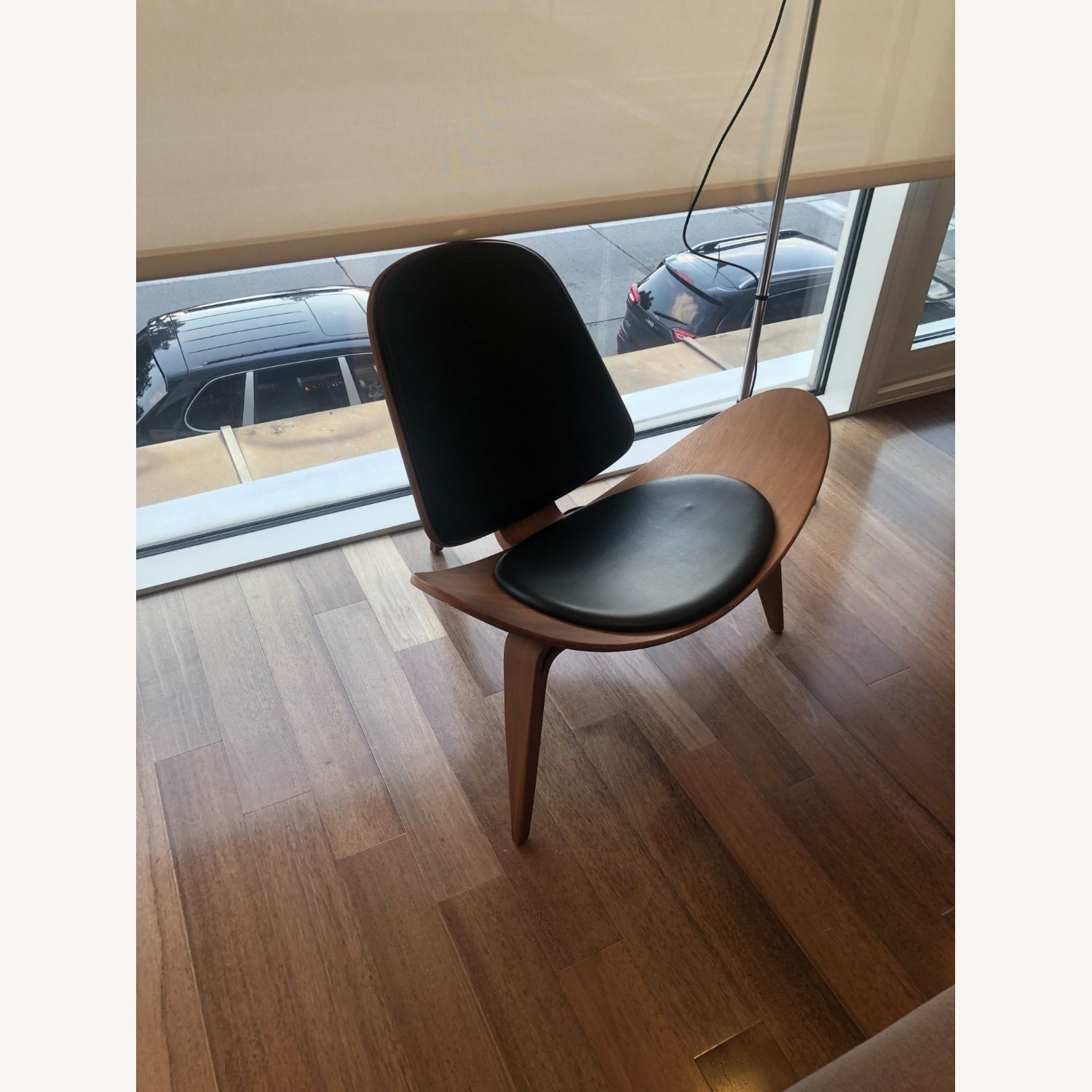 Sit Down New York Mitre Walnut and Black Leather Chair - image-2