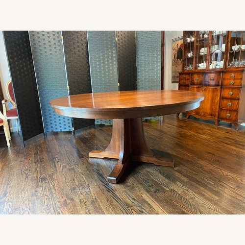 Used Stickley Round Dining Table with 3 Leaves for sale on AptDeco