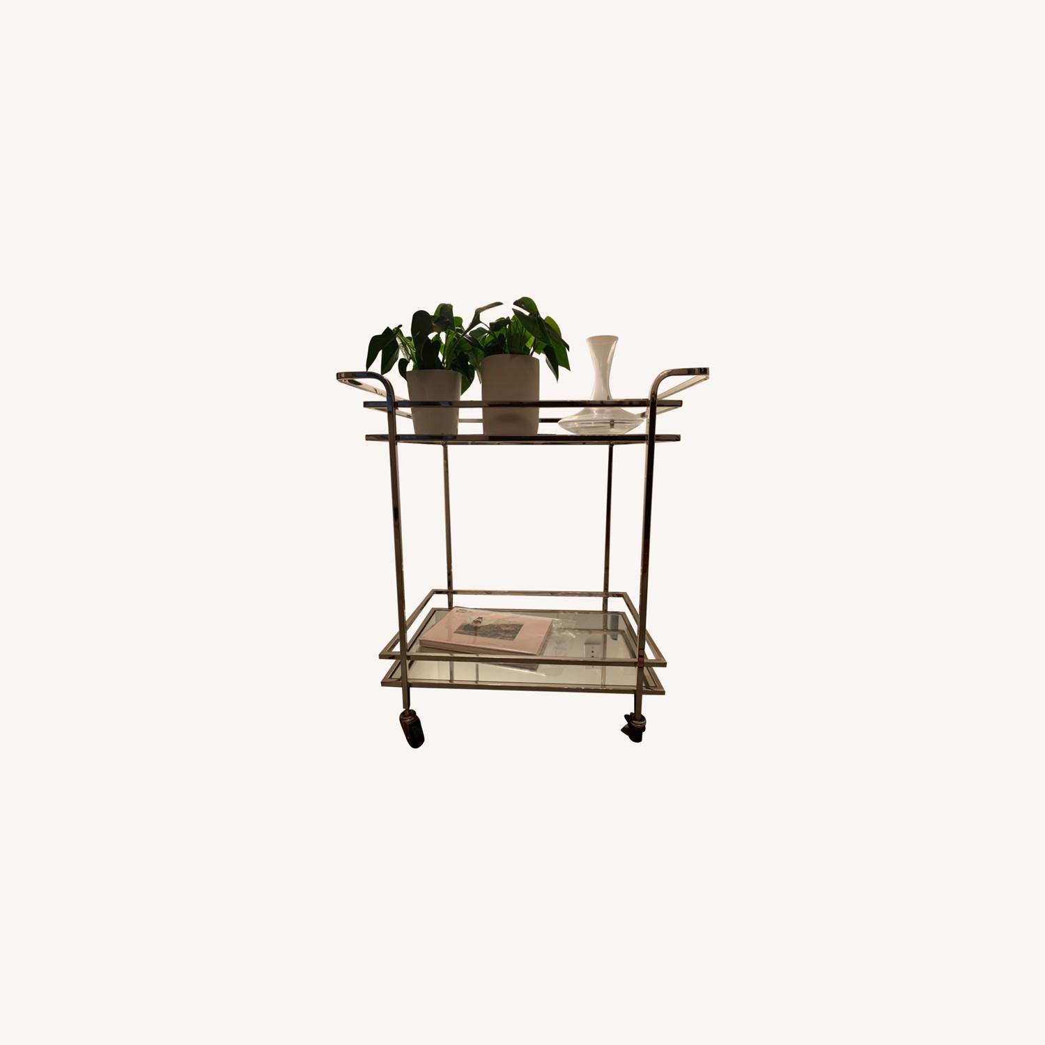 Wayfair Silver Rolling Mirrored Bar Cart - image-0