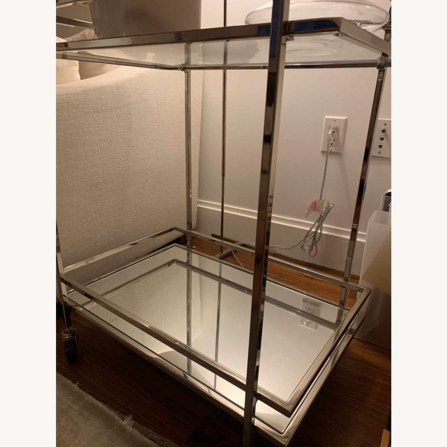 Wayfair Silver Rolling Mirrored Bar Cart - image-2