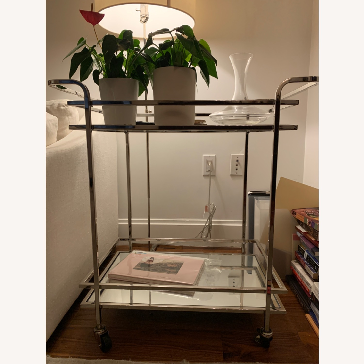 Wayfair Silver Rolling Mirrored Bar Cart - image-1