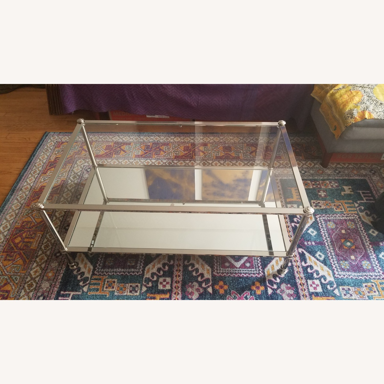 Wayfair Atticus Glass and Silver Coffee Table - image-0