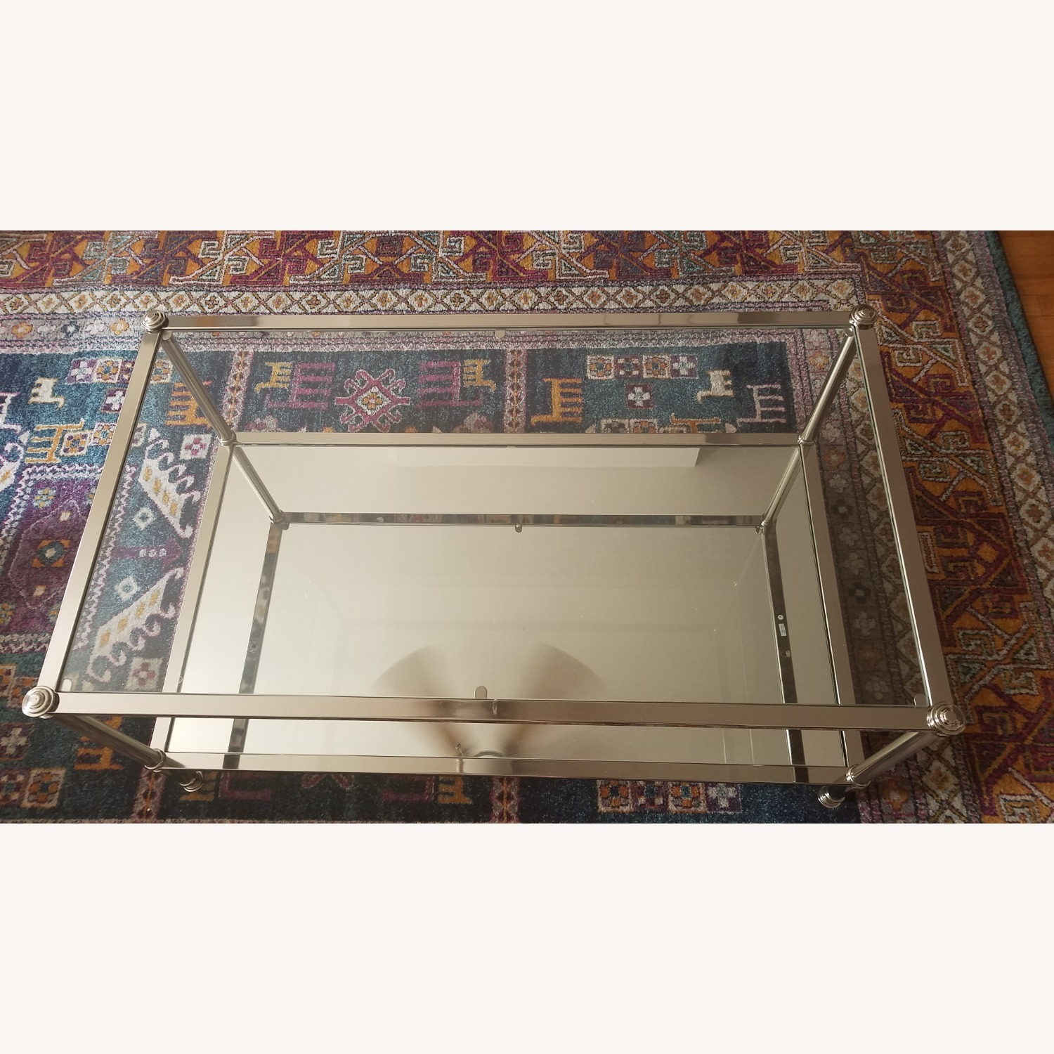 Wayfair Atticus Glass and Silver Coffee Table - image-1