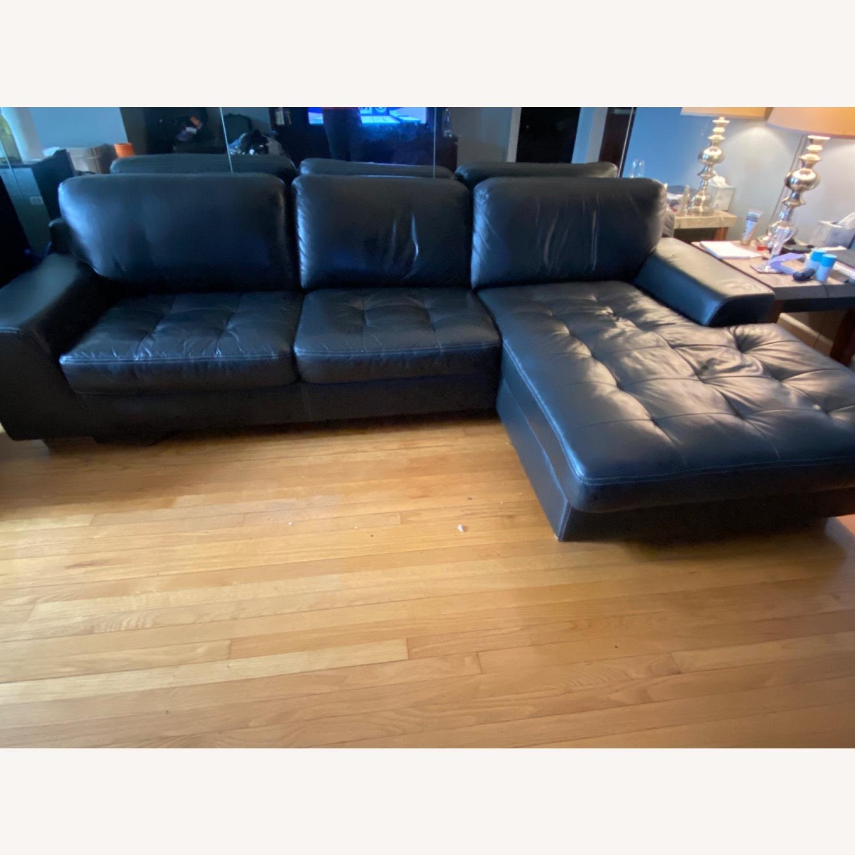 Black Leather Sofa - image-1